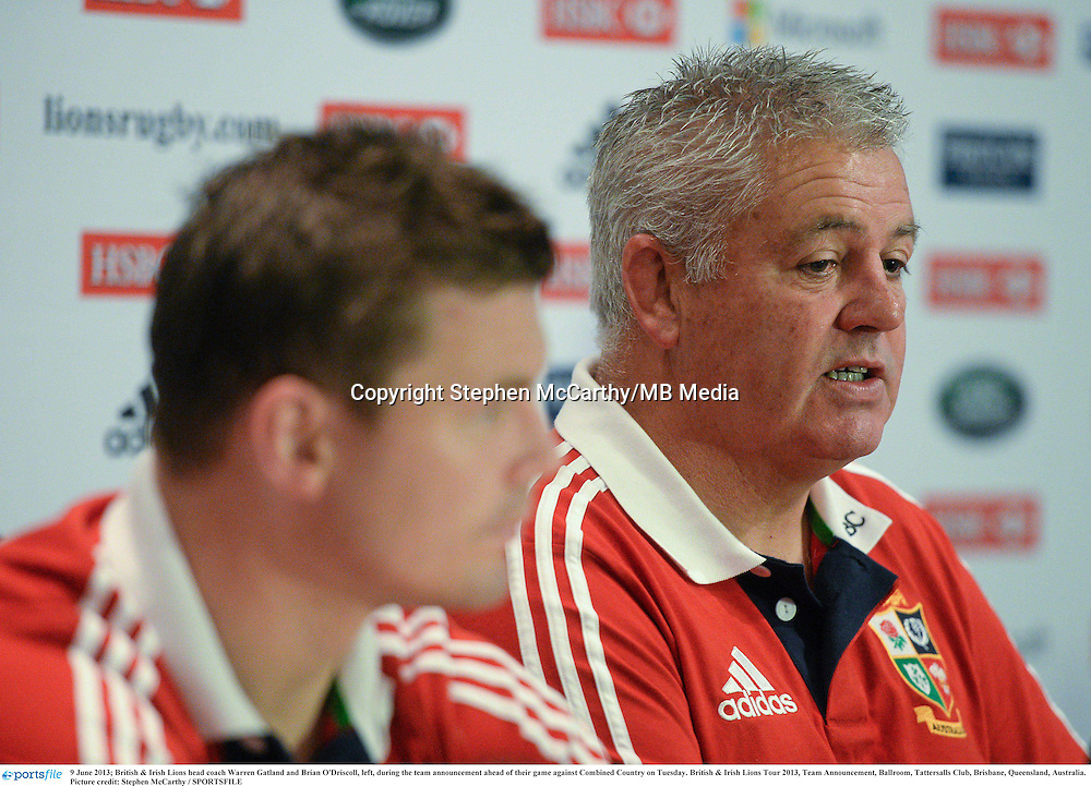 9 June 2013; British & Irish Lions head coach Warren Gatland and Brian O'Driscoll, left, during the team announcement ahead of their game against Combined Country on Tuesday. British & Irish Lions Tour 2013, Team Announcement, Ballroom, Tattersalls Club, Brisbane, Queensland, Australia. Picture credit: Stephen McCarthy / SPORTSFILE