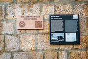 Interpretive sign at St. Mark Tower, Trogir, Dalmatian Coast, Croatia