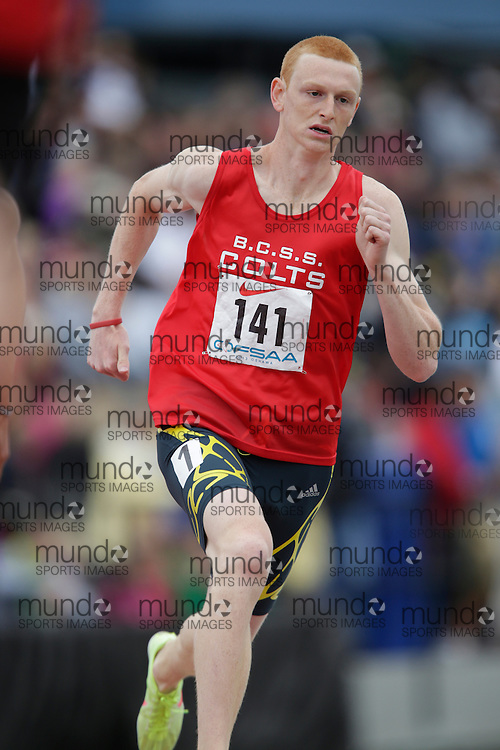 Ben Richardson of Bill Crothers SS - Unionville competes in the 800 metre heats at the 2013 OFSAA Track and Field Championship in Oshawa Ontario, Saturday,  June 8, 2013.<br /> Mundo Sport Images/ Geoff Robins