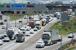 &copy; Licensed to London News Pictures. 05/04/2019.<br /> Dartford, UK. M25 traffic chaos Anti-Clockwise towards Dartford crossing. Easter getaway traffic hell has started on the M25 in Dartford, Kent as schools break up for two weeks. 14 millions cars are expected on the roads over the weekend.  Photo credit: Grant Falvey/LNP