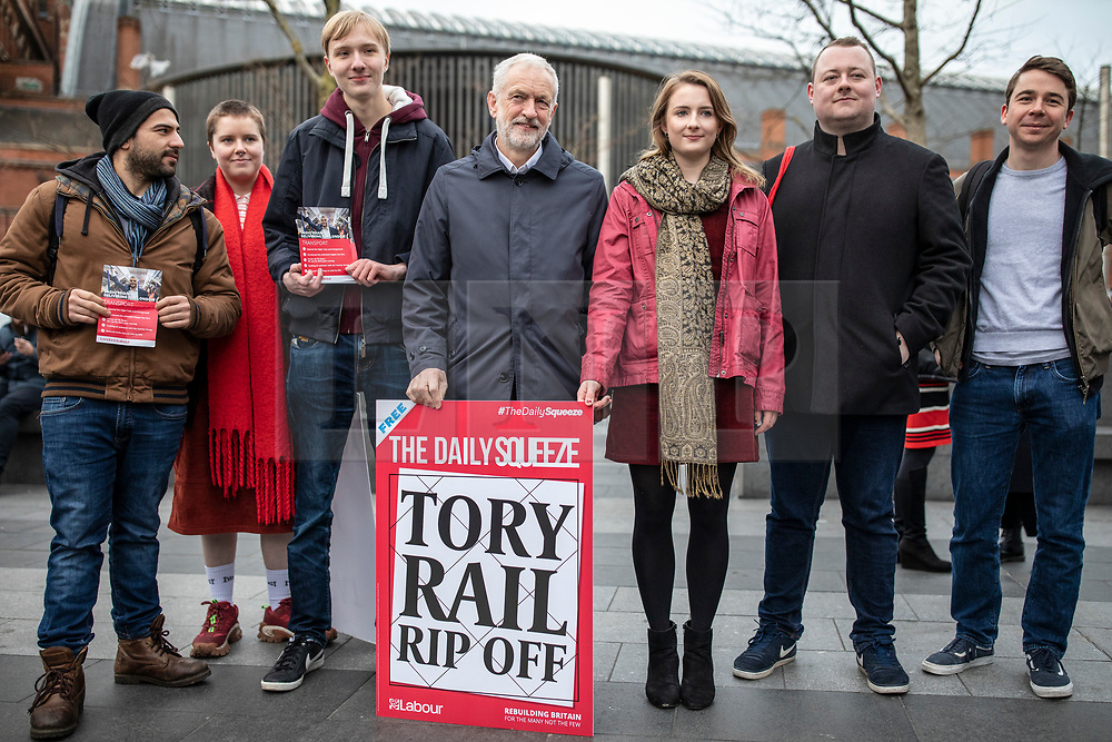 © Licensed to London News Pictures. 02/01/2019. London, UK. Leader of the Labour Party Jeremy Corbyn joins protesters at King's Cross as passengers begin a 'national day of action' over 3. 1% fare increases. Photo credit: Rob Pinney/LNP