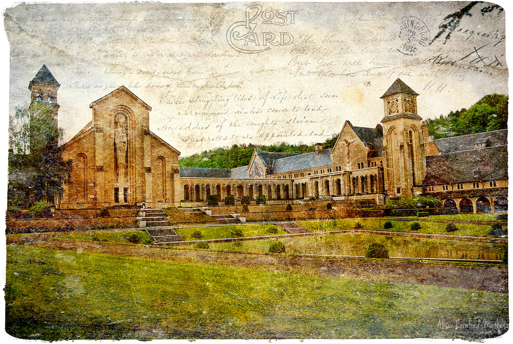 Notre Dame d'Orval Abbey, Belgium - Forgotten Postcard digital art collage