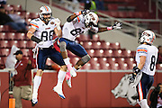 FAYETTEVILLE, AR - OCTOBER 31:  Caylon Weathers #81 and Ben Axline #88 of the UT Martin Skyhawks celebrate after a touchdown during a game against the Arkansas Razorbacks at Razorback Stadium on October 31, 2015 in Fayetteville, Arkansas.  The Razorbacks defeated the Skyhawks 63-28.  (Photo by Wesley Hitt/Getty Images) *** Local Caption *** Caylon Weathers; Ben Axline