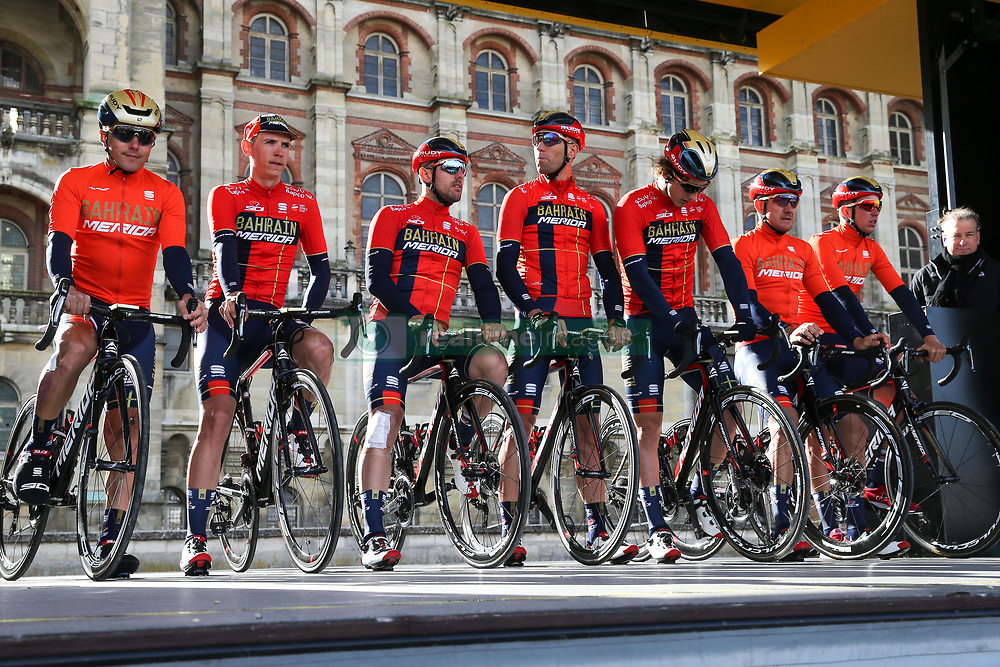 March 10, 2019 - Paris, Ile-de-France, France - Bahrain Merida cycling team poses during the team's presentation at the start of the 138,5km 1st stage of the 77th Paris-Nice cycling race between Saint-Germain-en-Laye and Saint-Germain-en-Laye in the west suburb of Paris, France, on March 10, 2019. Whether leaders of a team or merely a team-mate, the riders on the Paris-Nice try to excel, either individually or as a team. According to the stage profiles, changes in the general standings or some unexpected circumstance during the race, each rider adapts his objectives to the situation. (Credit Image: © Michel Stoupak/NurPhoto via ZUMA Press)