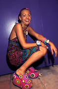 A raver with colourful shoes, Ibiza, 2000's.