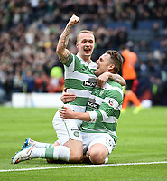 15/03/15 SCOTTISH LEAGUE CUP FINAL<br /> DUNDEE UTD v CELTIC<br /> HAMPDEN - GLASGOW<br /> Celtic's Kris Commons celebrates his opener with team-mate Leigh Griffiths (left)