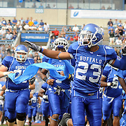 12 September 2009: University of Buffalo Bull Alex Pierre salutes the crowd as the team takes the field to face the Pittsburgh Panthers in the first half at UB Stadium in Buffalo NY.