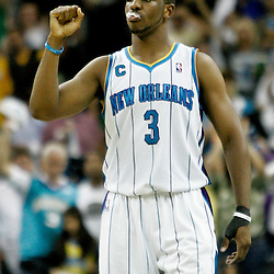 April 24, 2011; New Orleans, LA, USA; New Orleans Hornets point guard Chris Paul (3) reacts during the fourth quarter in game four of the first round of the 2011 NBA playoffs against the Los Angeles Lakers at the New Orleans Arena. The Hornets defeated the Lakers 93-88.   Mandatory Credit: Derick E. Hingle