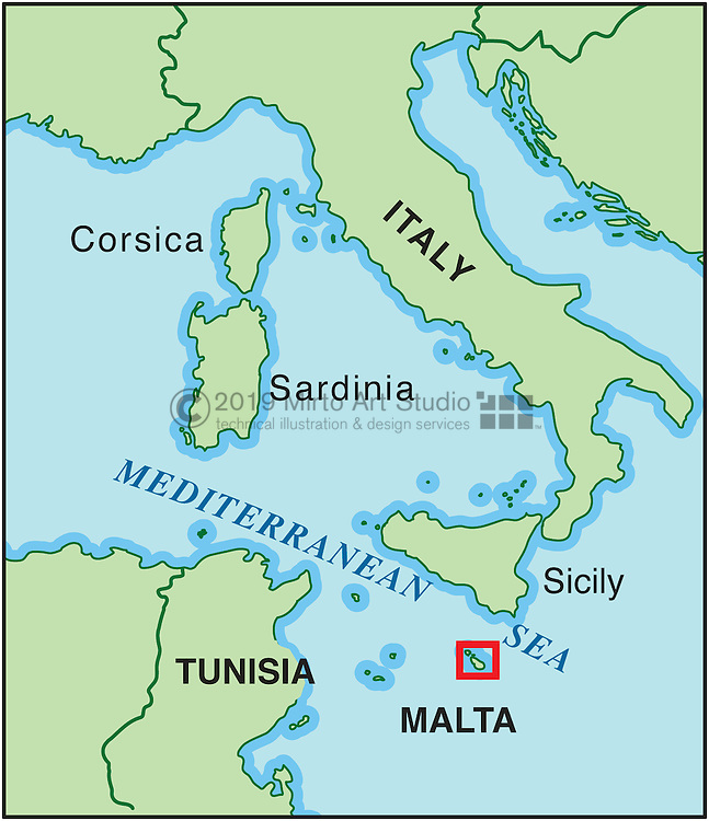 Vector map of Malta