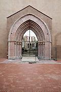 renovated church facade and interior ruin