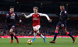 "Arsenal's Nacho Monreal (centre) in action during the Premier League match at the Emirates Stadium, London. PRESS ASSOCIATION Photo. Picture date: Wednesday November 29, 2017. See PA story SOCCER Arsenal. Photo credit should read: Nigel French/PA Wire. RESTRICTIONS: EDITORIAL USE ONLY No use with unauthorised audio, video, data, fixture lists, club/league logos or ""live"" services. Online in-match use limited to 75 images, no video emulation. No use in betting, games or single club/league/player publications"