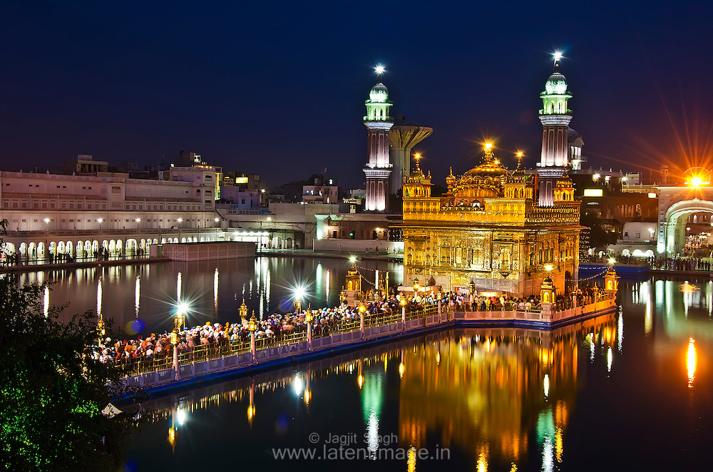 The Golden Temple Amritsar India (Sri Harimandir Sahib Amritsar) is not only a central religious place of the Sikhs, but also a symbol of human brotherhood and equality.<br /> <br /> EXIF: f/11, 10 seconds, ISO 100. Clicked at 7.15 PM.