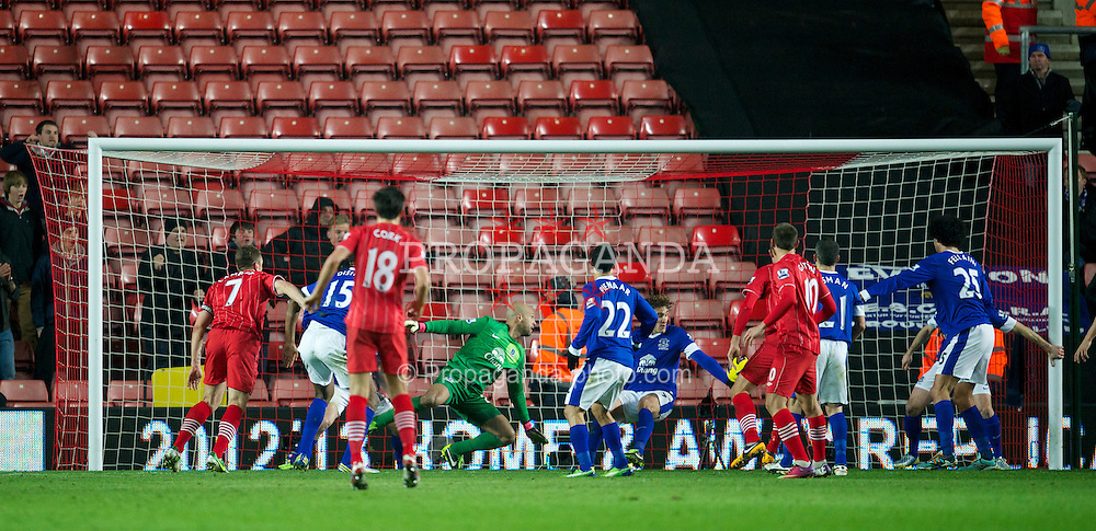 SOUTHAMPTON, ENGLAND - Monday, January 21, 2013: Everton's Nikica Jelavic clears the ball off the line against Southampton during the Premiership match at St. Mary's Stadium. (Pic by David Rawcliffe/Propaganda)