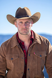 portrait of a handsome blond cowboy