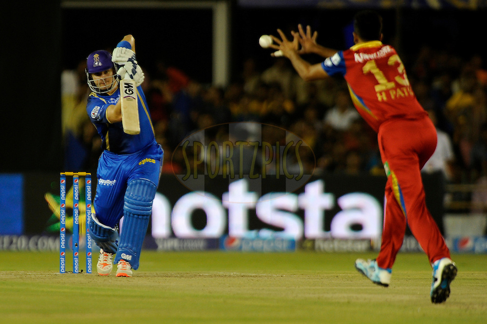 Shane Watson captain of Rajasthan Royals bats during match 22 of the Pepsi IPL 2015 (Indian Premier League) between The Rajasthan Royals and The Royal Challengers Bangalore held at the Sardar Patel Stadium in Ahmedabad , India on the 24th April 2015.<br /> <br /> Photo by:  Pal Pillai / SPORTZPICS / IPL