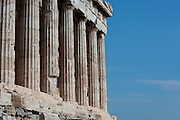 ATHENS, GREECE - APRIL 17 : A detail of Doric columns of the Parthenon, on April 17, 2007, in Athens, Greece. The Parthenon was built on the Acropolis, in the 5th century BC, in the Doric Order with Ionic features. It was completed about 432 BC by the architects Ictinus and Callicrates and was dedicated to Athena. (Photo by Manuel Cohen)