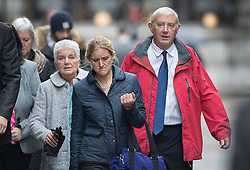 © Licensed to London News Pictures. 14/11/2016. London, UK. Gordon Leadbeater (R) father of murdered MP Jo Cox attends the trial of defendent Thomas Mair at The Old Bailey with Jo's sister Kim Leadbeater and mother Jean Leadbeater (L). Mair allegedly shot and stabbed the 41-year-old Member of Parliament outside her constituency surgery in Birstall, near Leeds, Yorkshire on June 16 this year. Photo credit: Peter Macdiarmid/LNP