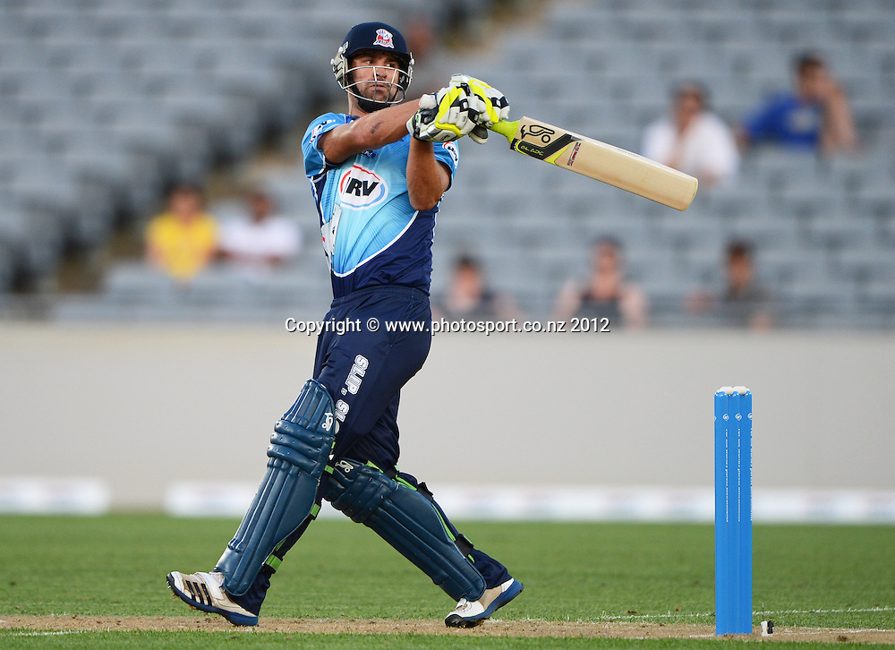 Colin de Grandhomme batting during the HRV Cup Twenty20 Cricket match between Auckland Aces and Canterbury Wizards at Eden Park on Friday 21 December 2012. Photo: Andrew Cornaga/Photosport.co.nz