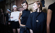 Backstage at Bora Asku on Day 1 of London Fashion Week in Brewer St car park in Soho in London.<br /> Photos Ki Price