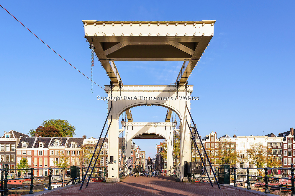 """De Magere Brug"" or the Skinny Bridge in Amsterdam, the Netherlands."