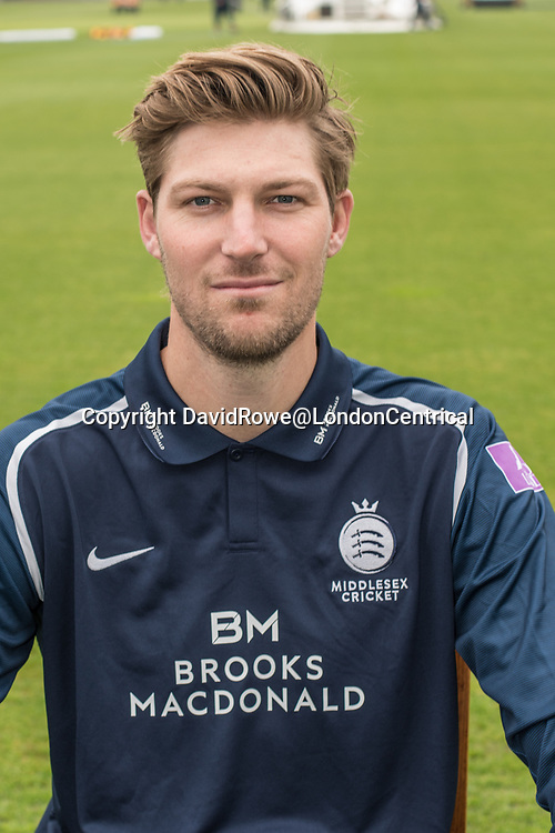 11 April 2018, London, UK.  Ollie Rayner of Middlesex County Cricket Club in the   blue Royal London one-day kit . David Rowe/ Alamy Live News
