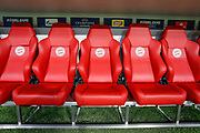 General stadium view showing the dugout seating inside the Allianz Arena before the Champions League match between Bayern Munich and Liverpool at the Allianz Arena, Munich, Germany, on 13 March 2019.