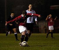 Photo: Jed Wee.<br /> Manchester United Reserves v Liverpool Reserves.<br /> 05/12/2005.<br /> <br /> Manchester United's Ole Gunnar Solskjaer fires in a shot on goal.