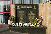 Valley Parade fire memorial outside The Northern Commercials Stadium before the EFL Sky Bet League 1 match between Bradford City and Plymouth Argyle at the Northern Commercials Stadium, Bradford, England on 11 November 2017. Photo by Craig Zadoroznyj.