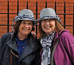 Bridget Ralph and Julie Kennedy pictured at Croke Park supporting Rice College in the Hogan Cup Final<br />