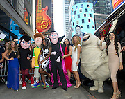 "Ally Brooke, Normani Kordei, Lauren Jauregui, Dinah Jane Hansen and Camila Cabello, left to right, of Fifth Harmony, pose with characters from the movie ""Hotel Transylvania 2"" at Hard Rock Cafe New York, Thursday, Aug. 27, 2015, to reveal the music video for their song, ""I'm In Love with a Monster."" (Photo by Diane Bondareff/Invision for Hard Rock International/AP Images)"
