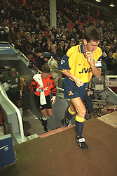 Liverpool, England - Wednesday, November 27th, 1996: Arsenal's captain Tony Adams walks out to face Liverpool before the 4th Round of the League Cup at Anfield. (Pic by David Rawcliffe/Propaganda)