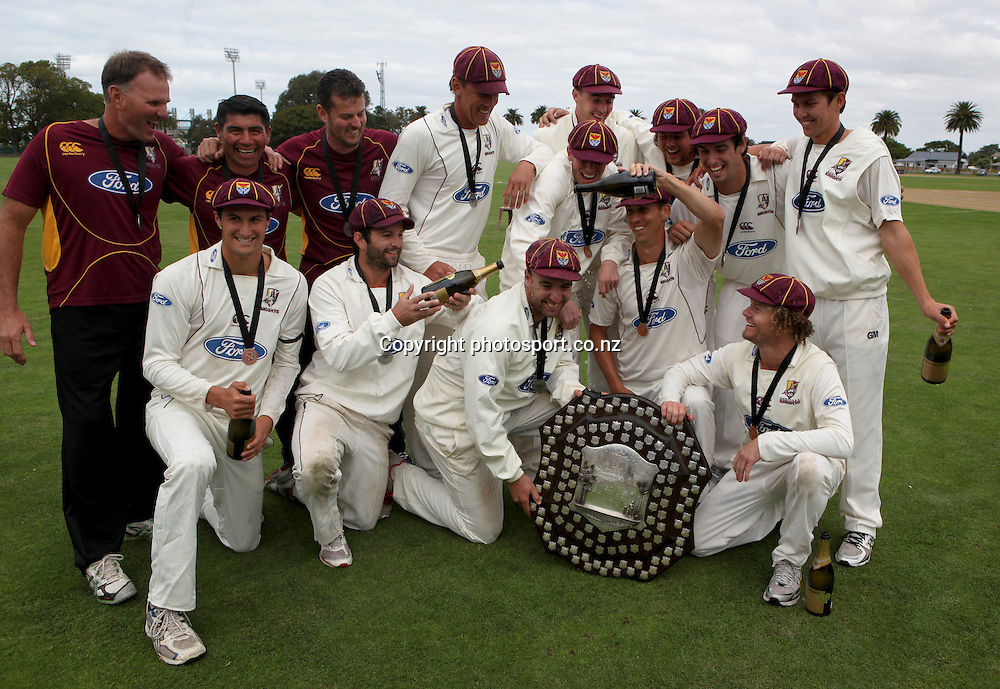 Northern Districts Knights  with the Plunket Shield after winning the series , Nelson Park, Napier, New Zealand. Thursday 29 March, 2012. Photo: John Cowpland / photosport.co.nz