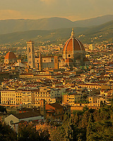 The view of  most beautiful church in Florence Santa Maria del Fiore (Duomo) from the  hilltop of Michelangelo Square .