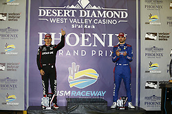 April 7, 2018 - Avondale, Arizona, United States of America - April 07, 2018 - Avondale, Arizona, USA: Robert Wickens (6) and Alexander Rossi (27) celebrate after finishing second and third in the Desert Diamond West Valley Casino Phoenix Grand Prix at ISM Raceway in Avondale, Arizona. (Credit Image: © Justin R. Noe Asp Inc/ASP via ZUMA Wire)
