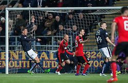 Rangers Kenny Miller scoring their first goal. <br /> Falkirk 3 v 2 Rangers, Scottish Championship game player at The Falkirk Stadium, 18/3/2016.