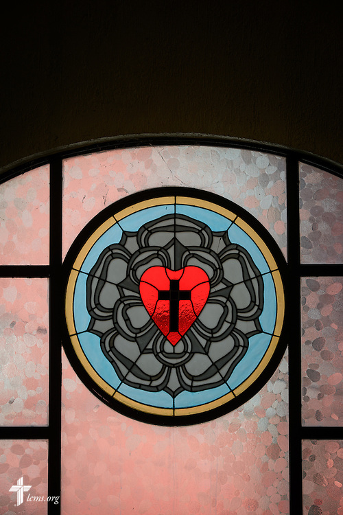 A Luther Seal on the window of the Lutheran Church of San Pedro on Sunday, Feb. 14, 2016, in Mexico City, Mexico. LCMS Communications/Erik M. Lunsford