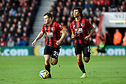 Ryan Fraser (24) of AFC Bournemouth and Nathan Ake (5) of AFC Bournemouth burst forward during the Premier League match between Bournemouth and Watford at the Vitality Stadium, Bournemouth, England on 12 January 2020.