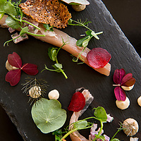 Raw mackerel is served in an artful display at Kødbyens Fiskebar, a cool industrial-style restaurant in the former meat market that serves simple, fresh seafood dishes in the Meatpacking District of the Vesterbro neighborhood of Copenhagen, Denmark.