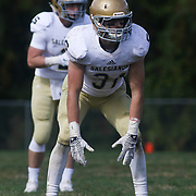 Salesianum Corner Back Zachary Jarome (31) lines up at the line of scrimmage in the third quarter Saturday, Oct. 17, 2015 at Concord Stadium in Wilmington.