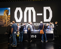 Olympus cameras stand at Photokina trade fair in Cologne, Germany , 2016