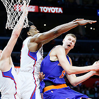 11 March 2016: New York Knicks forward Kristaps Porzingis (6) goes for the layup against Los Angeles Clippers center DeAndre Jordan (6) and Los Angeles Clippers center Cole Aldrich (45) during the LA Clippers 101-94 victory over the New York Knicks, at the Staples Center, Los Angeles, California, USA.