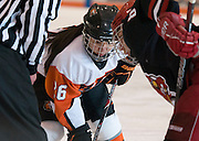 2012/03/04 - RIT's Kourtney Kunichika takes a face-off during the first period of the ECAC West Championship game between RIT and SUNY Plattsburgh at RIT's Ritter Arena on March 4th, 2012. RIT lead 1-0 after one period of play.