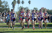 Dec 8, 2018; Balboa Park, CA, USA; Kashon Harris, Drew Bosley, Jake Renfree, Carter Solomon, Joshua Methne, Cole Hocker and Graydon Morris lead the boys race during the 40th Foot Locker cross country championships at Morley Field.