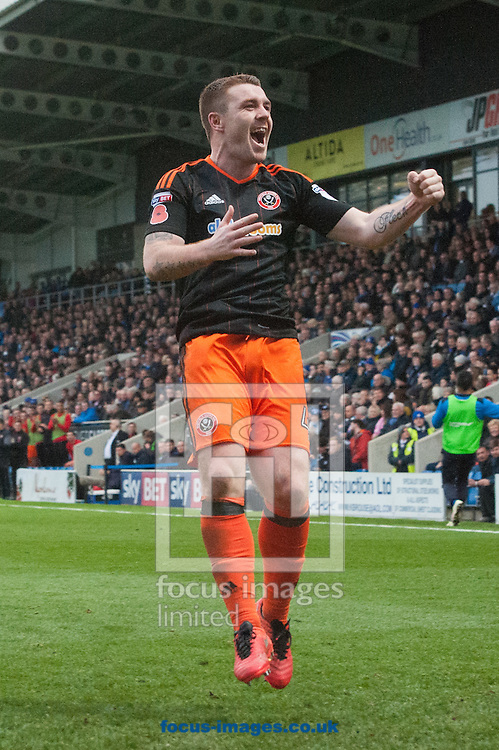 John Fleck of Sheffield United celebrates after scoring his sides second goal during the Sky Bet League 1 match at the b2net stadium, Chesterfield<br /> Picture by Matt Wilkinson/Focus Images Ltd 07814 960751<br /> 13/11/2016