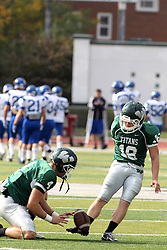 12 October 2013:  Tate Musselman and Michael Kelley during an NCAA division 3 football game between the North Park vikings and the Illinois Wesleyan Titans in Tucci Stadium on Wilder Field, Bloomington IL