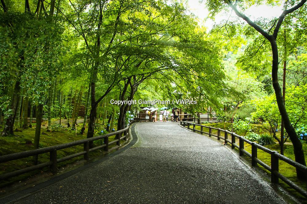 Walking path in Zen Garden in Kyoto Prefectures, Japan