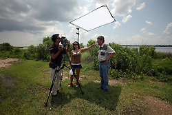 01 June 2010. New Orleans, Louisiana, USA.  <br /> Dr Ivor Van Herden shot on set in Chalmette for Spike Lee's latest movie, 'If God is Willing and da Creek Don't Rise.'<br /> Photo ©; Charlie Varley/varleypix.com.