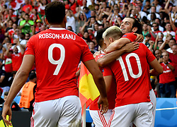Gareth Bale of Wales celebrates with Aaron Ramsey of Wales - Mandatory by-line: Joe Meredith/JMP - 25/06/2016 - FOOTBALL - Parc des Princes - Paris, France - Wales v Northern Ireland - UEFA European Championship Round of 16