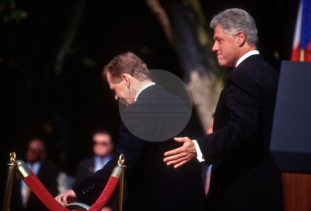 "President Bill Clinton escorts Czech President Vaclav Havel for the review of the troops at the White House during the Czech State Visit September 16, 1998 in Washington, DC.  Vaclav Havel, the former dissident playwright who led Czechoslovakia's 1989 ""Velvet Revolution"" against communism and then served as his country's president, died December 18, 2011.  He was 75."