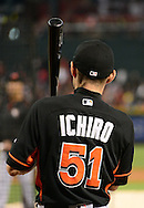 PHOENIX, AZ - JUNE 11:  Ichiro Suzuki #51 of the Miami Marlins warms up during batting practice prior to the MLB game against the Arizona Diamondbacks at Chase Field on June 11, 2016 in Phoenix, Arizona.  (Photo by Jennifer Stewart/Getty Images)